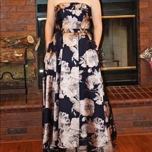 Navy and Metallic Prom Dress